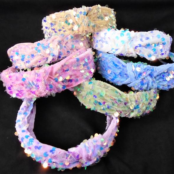 "BACK AGAIN 1.5"" Lite Color Sequin Fashion  Headbands w/ Knot  .58 each"