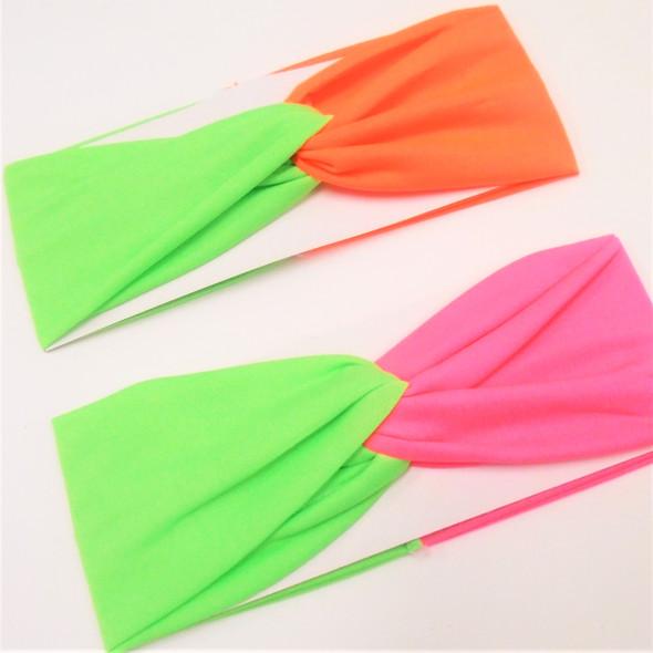 "3"" Stretch Headband Two Tone Summer Neon Colors   .58 ea"
