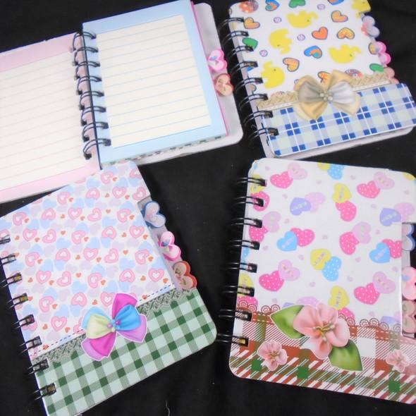 "BEST QUALITY 3.5"" X 5""  Hard Cover Diary Heart Theme 12  per pk .62 each"