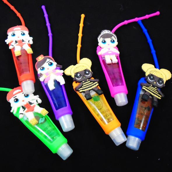 """4"""" Mixed Kid Theme Glitter Fruit Lip Gloss 12 per pk .58 ea"""
