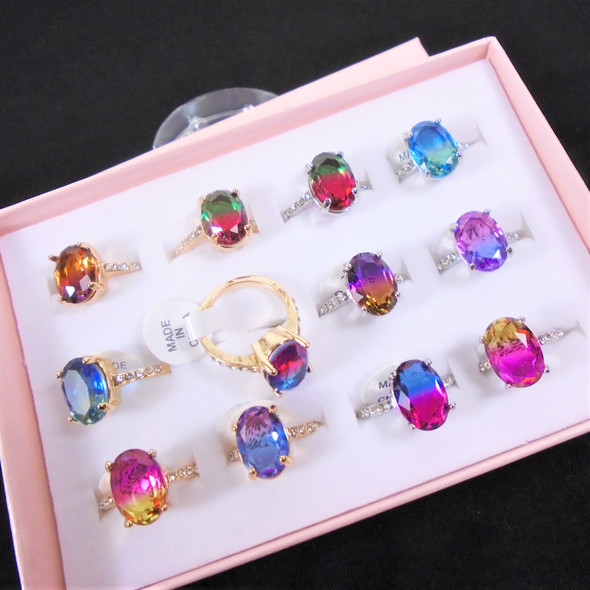 BEST BUY  Multi Color Cubic Stone Fashion Rings w/ Mini Crystals  .60 ea