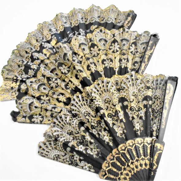 "9"" Black Frame Gold Glitter Fashion Hand Fans .58 each"