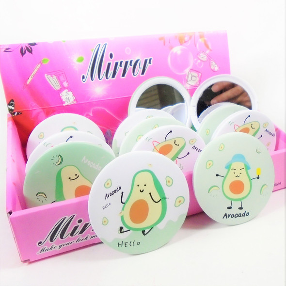 Trendy Avocado Theme Round DBL Compact Mirror in Display (016) .60  each