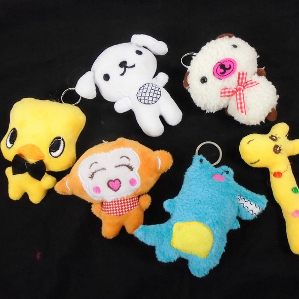 "SO CUTE 3"" Plush Animal Keychains  6 styles  .62 each"