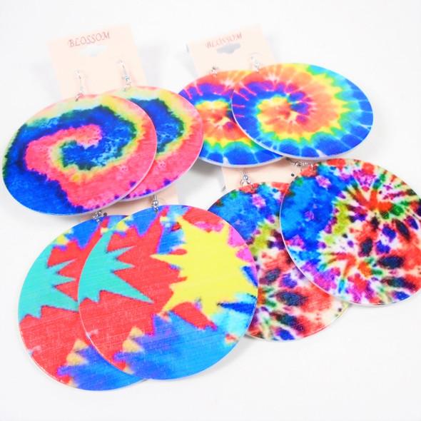 """3"""" Dye Tye Theme Wood Fashion Earrings Mixed Prints .58 per pair"""