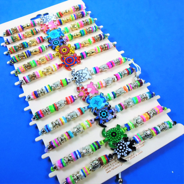 Cord Beaded Bracelets w/ Colorful Turtle Charm Gold/Sil  12 per card .54 ea