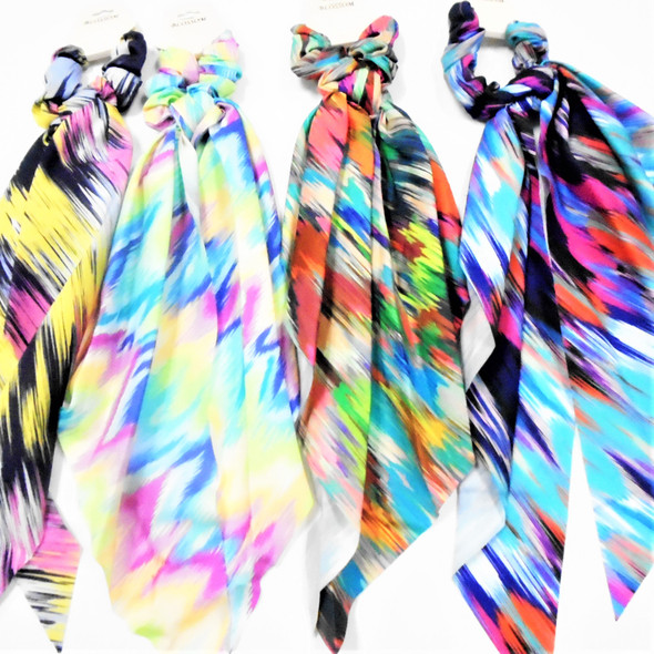 """12"""" Mixed  Print Long Tail Scrungi Bow Look Ponytailers (325)  .60 ea"""