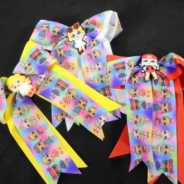 """5"""" X 6"""" Kids Print Gator CLip Bows w/ Tails  Mixed Colors  .54 each"""