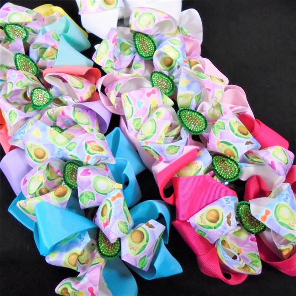 """5"""" 2 Layer  Avocado Theme Gator Clip Bows  Crystal Center Mixed Styles  .54 each"""