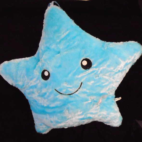 Lg Size Very Plush Flashing Star Pillows  ( BLUE) sold by pc  $  5.50 each