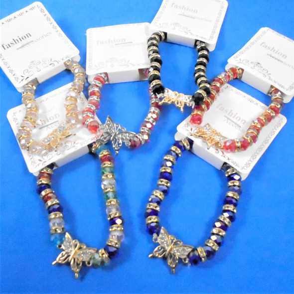 Crystal Beaded Stretch Bracelet w/ Gold/Silver Cry. Stone Butterfly .62 ea