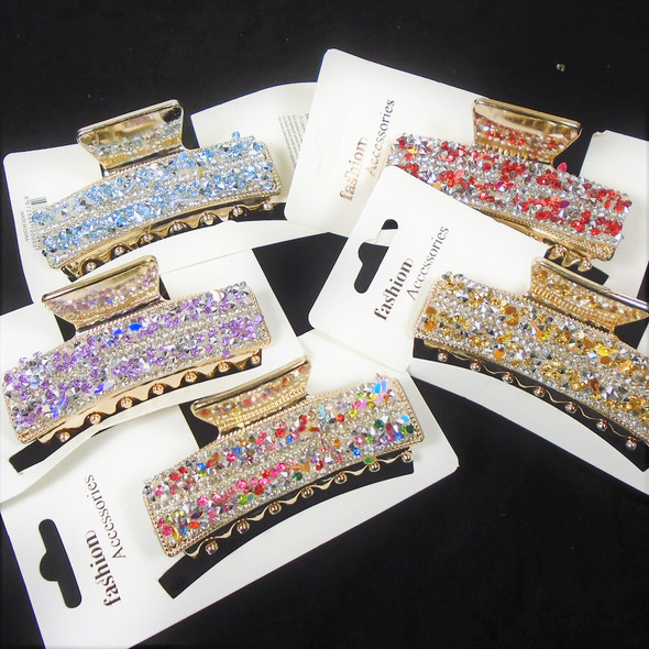 """3.5"""" Gold Fashion Jaw Clips Loaded w/ Colorful Acrylic Stones Clips   .62 ea"""
