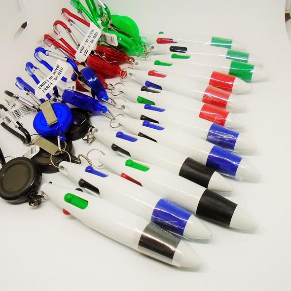 4 Color Retractable Pen White  w/ Keychain .62 ea