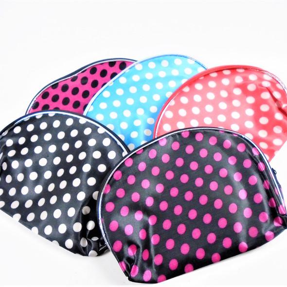 "5"" X 8"" Poka Dot Theme Zipper Cosmetic Bags  .62 ea"