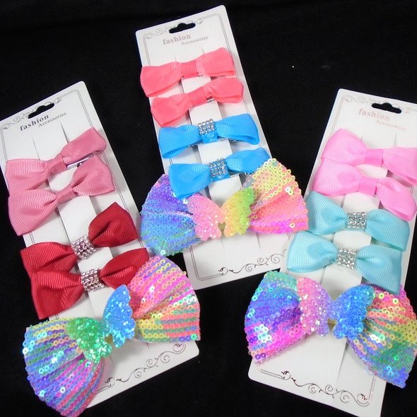 5 Pack Gator Clip Bow Set w/ Sequin Butterfly Bow  .58 per set
