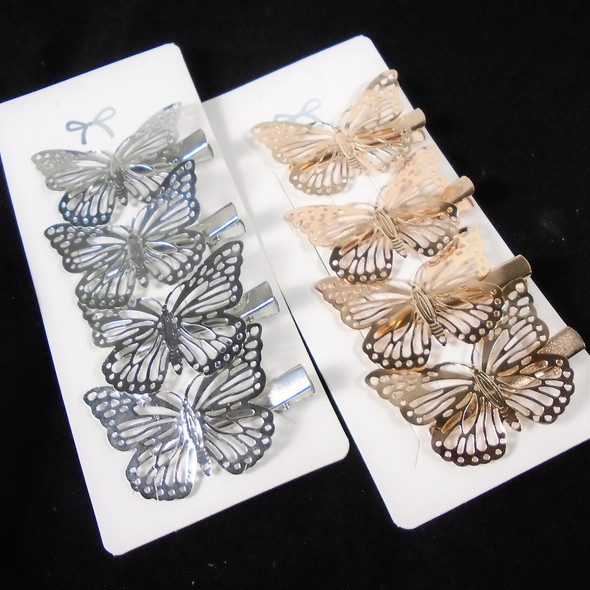 4 Pack Gator Clip  SET Gold & Silver Butterfly  .58 per set