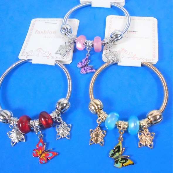 Gold & Silver Spring Style Beaded Bracelet w/ Butterfly Charms  .60  ea