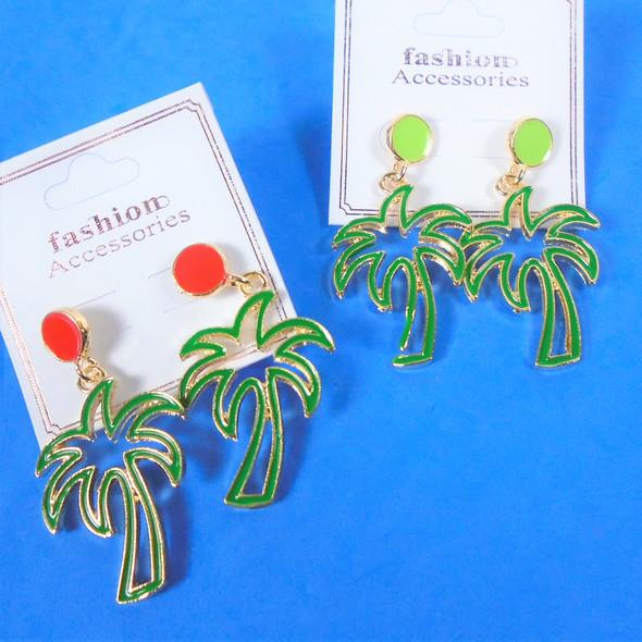 "1.5"" Cast Gold Epoxy Green Open Palm Tree Fashion Earring  .62 per pair"