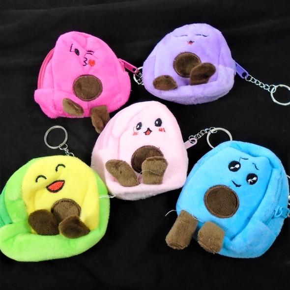 "4"" Puffy Expression Zipper Bag w/ Keychain Mixed COlors  12 per pk  .55 each"