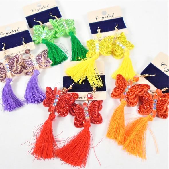 """3"""" Crystal Stone Butterfly Earrings w/ Dangle Tassel   .56 per pair"""