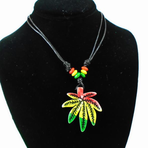 DBL Leather Cord Adj Necklace w/ Rasta Beads & Leaf Pendant  .56 each