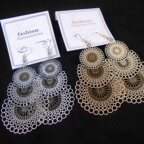 Lightweight 3 Tier Filigree Look Fashion Earrings  .56 per pair