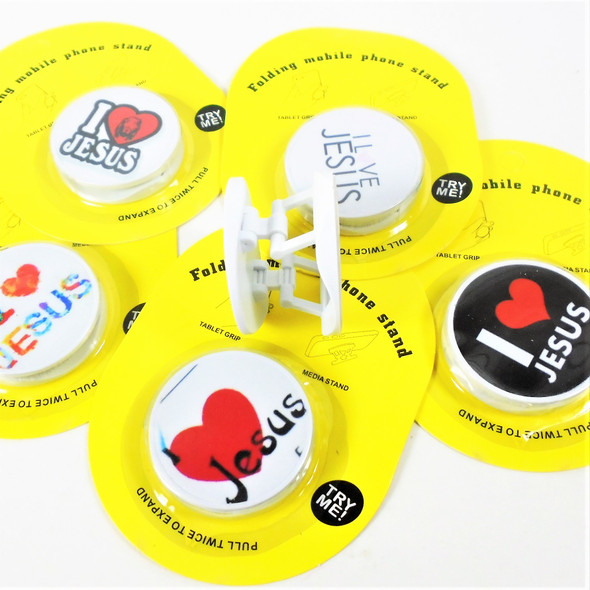 NEW STYLE POP UP Phone Stand I Love Jesus  Theme  12 per pk .55 each