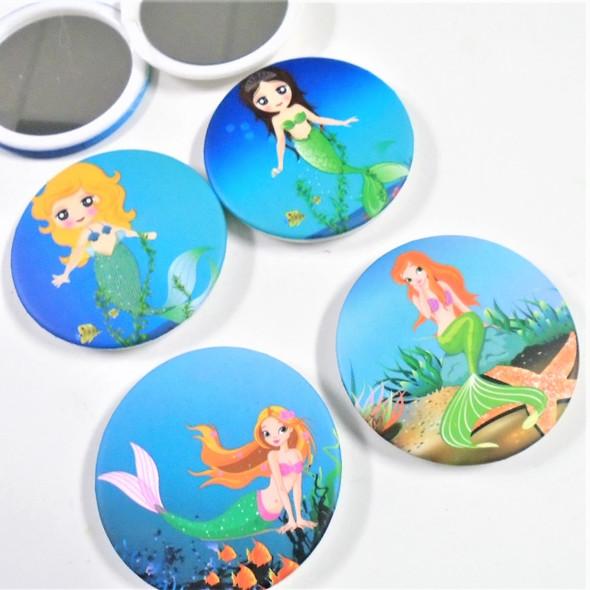 "Mermaid Theme Print 3"" Round DBL Compact Mirror Assorted Prints .58 each"