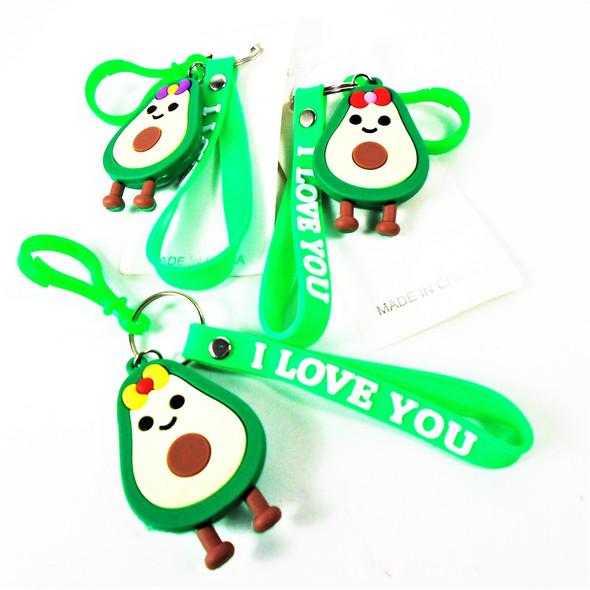 """3"""" Avocado Theme Keychain Bracelet w/ Clip (342)  .55 each"""