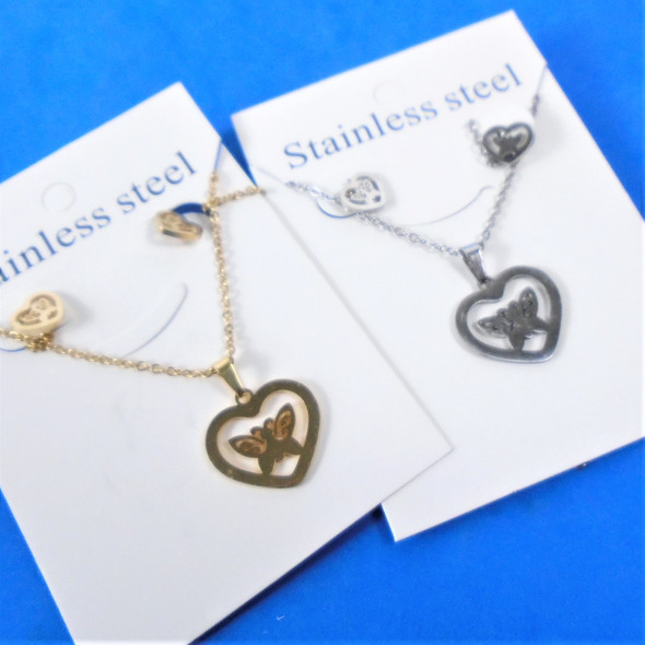 Stainless Steel Necklace & Earring Set Gold/Silver Butterfly in Heart  .60 each set