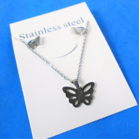 Stainless Steel Necklace & Earring Set All Silver Butterfly   .60 each set