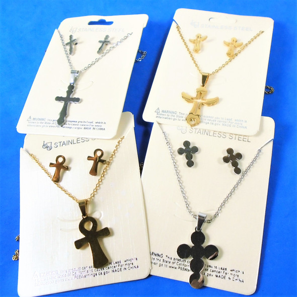 Gold / Silver Mixed Style Cross Stainless Steel Neck & Earring Sets $ 1.00 per set