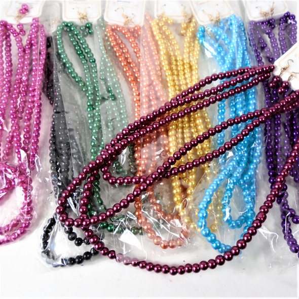 Triple Row Glass Pearl Necklace Set 9 Mixed Colors  .60 per set