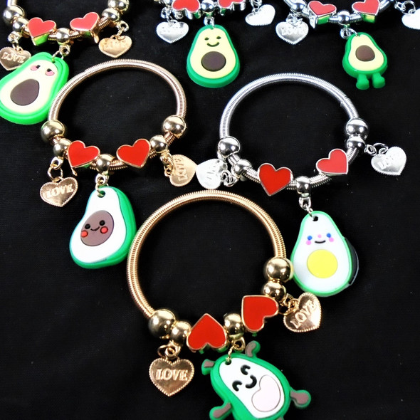 Kid's Spring Style Bracelets w/ Heart & Avocado Charms  Mixed Styles  .56 each