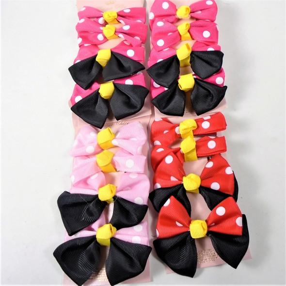 4 Pack Poka Dot Theme Kids Hair Bows on Gator Clip  Asst Colors .54 per set