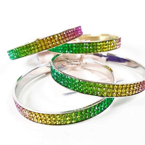"""2.5"""" Gold & Silver Metal Hoop Earrings w/ Rainbow Crystal Stones  .56 per pair"""