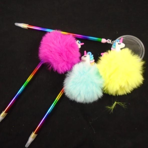 """7"""" Rainbow Pen w/ Faux Fur Pom Pom & Unicorn  .60  each"""