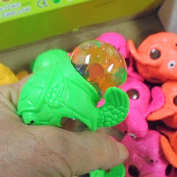 """Best Quality 3.5"""" Super Squishy Dinosaurs w/ Multi Color Beads 12 per display bx .85 each"""