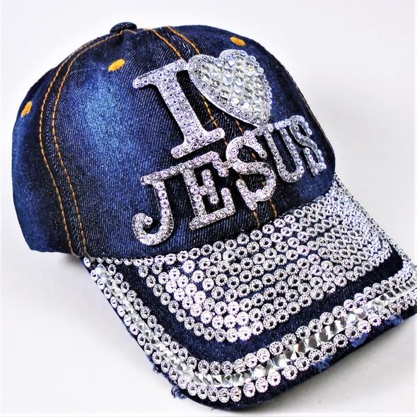 Silver Stone & Stud Bling Bling Jesus Baseball Caps Dark Denium sold by pc $ 4.50 each