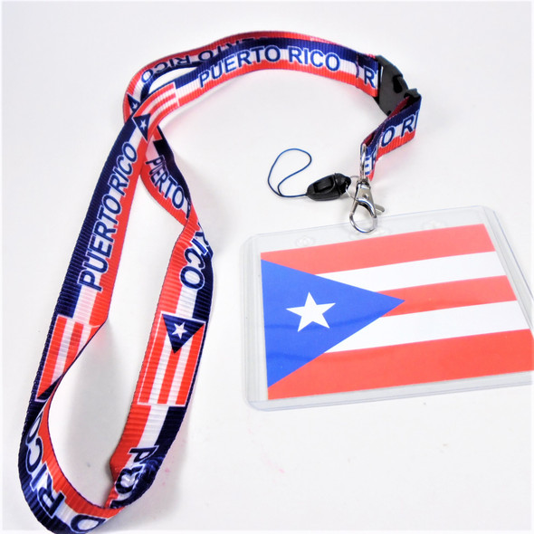 "36"" Puerto Rico Theme Lanyards w/ ID Holder  12 per pk  .58 ea"
