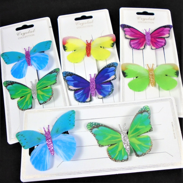 """2 Pack 2.5"""" Soft Fabric Wing Butterfly Hair Clips .58 per pair"""
