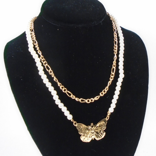 2 Strand Pearl & Chain Necklace w/ Butterfly Pendant  .60  each