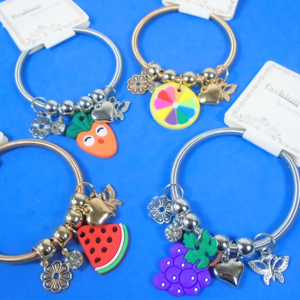 Gold & Silver Spring Style Beaded Bracelet w/ Colorful Fruit Charms  .60  ea