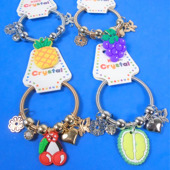 Kid'sGold & Silver Spring Style Beaded Bracelet w/ Colorful Fruit Charms  .58  ea