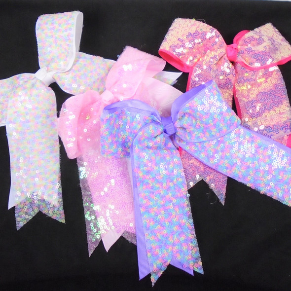 """5.5"""" X 6"""" Large 2 Layer Sequin Tail Gator Clip Bows    .60  ea"""