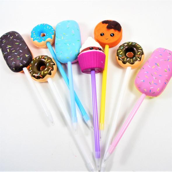 "9"" Novelty Squishy Top Dessert  Pens Mixed Styles-  12 per pk .65 each"