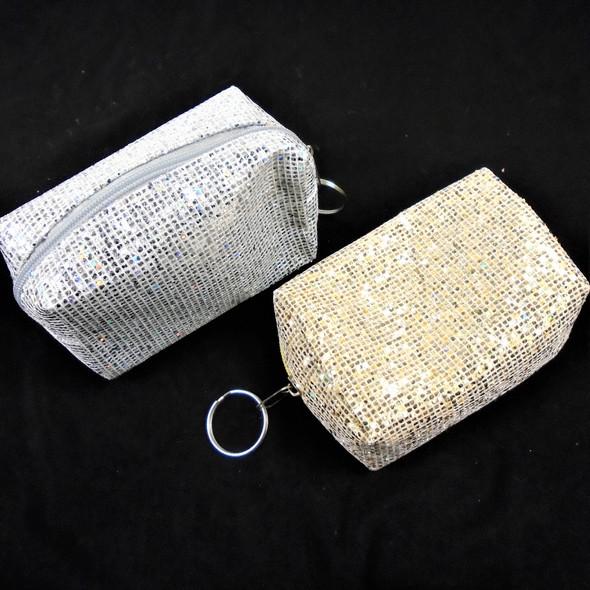 "CLASSY 4.5"" Gold & Silver Sparkle Sequin Zipper Bag w/ Key Chain  .58 ea"