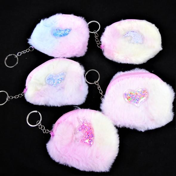 """3.5"""" Multi Tone Faux Fur  Zipper Coin Bag w/ Key Chain   .58 ea"""