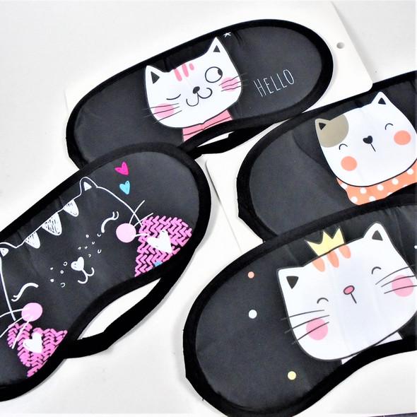 """4"""" X 8"""" Cute Cat Theme Sleeping Mask w/ Elastic Back (1106)  .60 ea"""