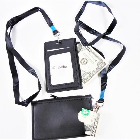 "4.5"" Black ID Card Holder w/ Zipper Compartment & Back Pouch  .58 ea"